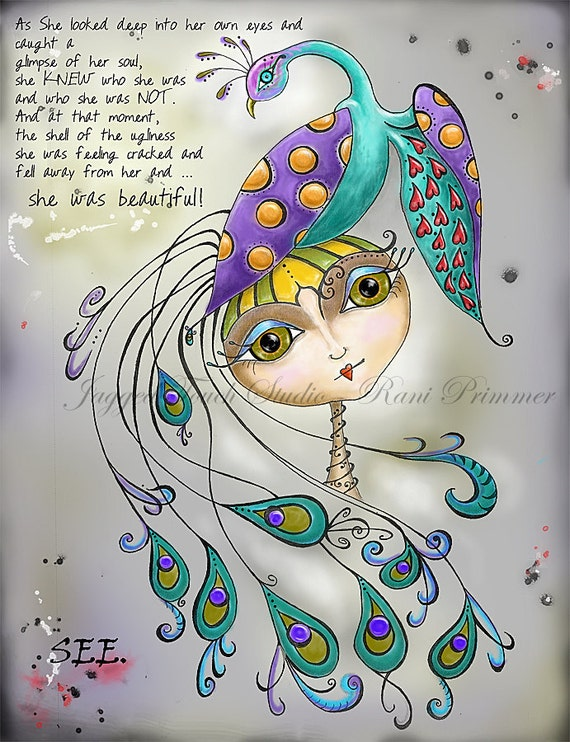 """Title: """"SEE"""" - Inspirational and colorful Giclee Art Print 8.25x10.75."""
