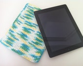 Crocheted iPad Sleeve - Green, Blue, and Yellow Mix