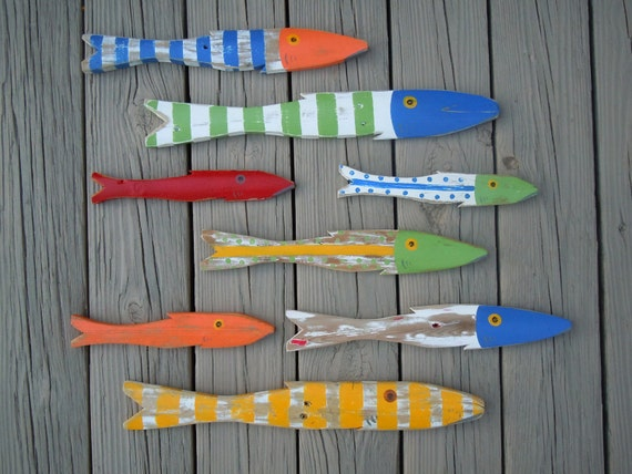 School of 8 Hand Painted Picket FISH Art Reclaimed Wood Beach Cottage Cabin Decor