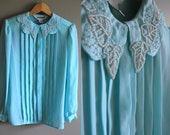 The Sparrow Blouse - Vintage Baby Blue Sheer Blouse with Beaded Peter Pan Collar