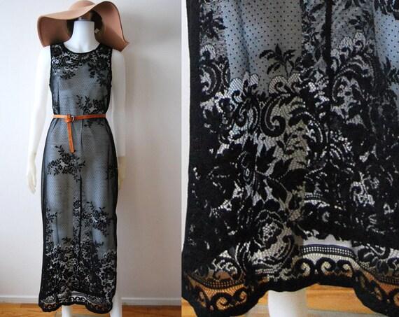 The Black Cat - Vintage 70s Lace Crochet See thru Maxi Dress Festival Folk Boho