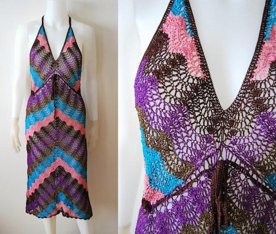 RESERVED For kellesshops: Rainbow Crochet - Vintage 90s look 70s Chevron Pattern ZigZag Knit Dress