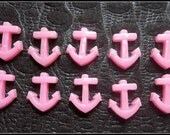 "4/5"" tall flat back anchor cabochon 5 quantity pink"