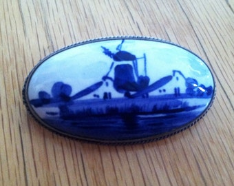 SALE: Delft Tile Brooch With Windmill Picture