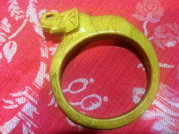 Wooden Elephant Bangle Bracelet