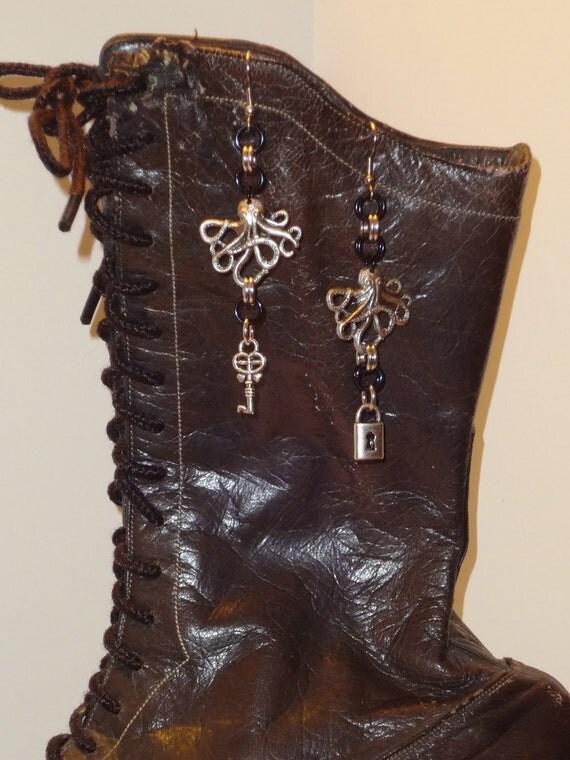 Octopus Lock and Key Steampunk Inspired Earrings...SRAJD