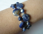 Sodalite double strand bracelet, sterling silver beads, antiqued pewter toggle