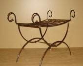 Vintage Brass Vanity Seat with Double X-form Legs and Scroll Curves