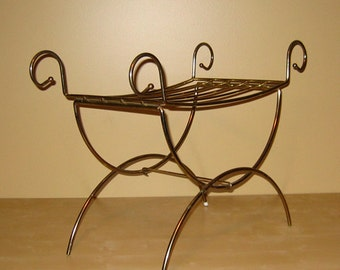 vintage brass vanity seat with double xform legs and scroll curves