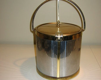 Vintage Kraftware Ice Bucket in Chrome and Brass
