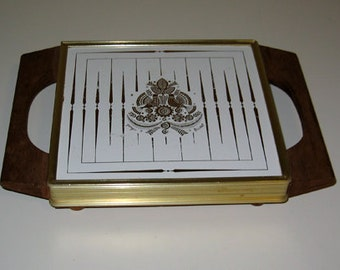 Georges Briard Vintage 1960s Sonata Pattern Hot Plate with Teak Handles