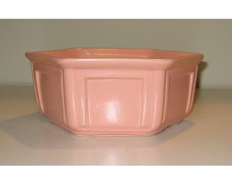 Vintage Matte Pink Hexagonal Double Square Design California Pottery Marked 8118
