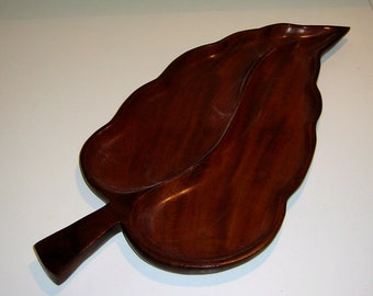 "Vintage 19"" Mahogany Wood Leaf Serving Tray with 2 Sections"