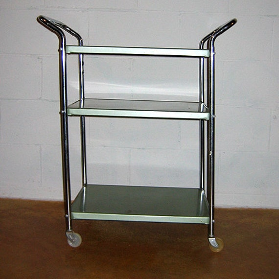 Vintage Seafoam Green Mid Century Metal Kitchen Rolling Cart