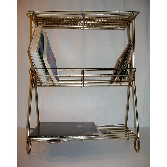 Vintage 1950s Record Rack and Player Stand of Perforated Brass and Brass Wire