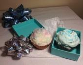 Two Cupcake Candles Fudge Brownie Bottom / Birthday Cake Top / Vanilla Cinnamon Top