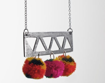 triangle pompom necklace
