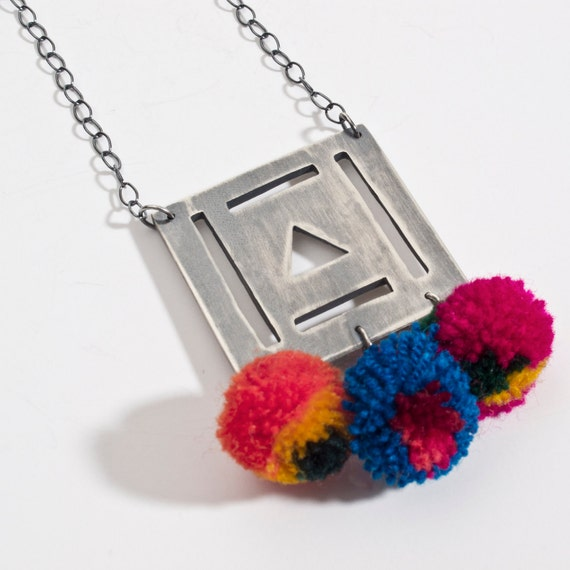 pompom square necklace