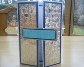 Blue and Silver Gatefold Twin Card