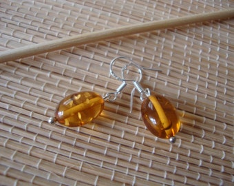 Amber Whisky Honey Gemstone Silver 925 Hook Handmade Earrings
