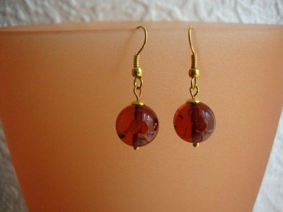 Amber Whisky - Honey Gemstone Round - Gold Plated Handmade Earrings