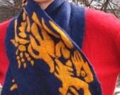 Custom Dragon scarf Reserved for jadestarII in dark NavyBlue and bright Rusty Orange