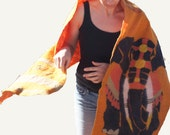 Luxurious, exotic Made form scratch Felted SHAWL, WRAP, SCARF. Natural dyes. No toxins.