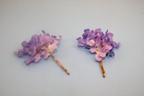 Lavender Purple Hair Flower Cluster on Vintage Gold Toned Bobby Pins-set of 2
