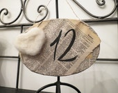 10 vintage book Table numbers Wedding, engagement reception. Shabby Chic.