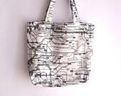 SUMMER SALE - Large tote bag, shopping bag, book bag , subway print fabric