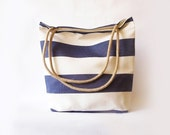 Tote bag - Beach bag. Nautical theme. Navy blue and white stripes. Water resistent. Rope handles