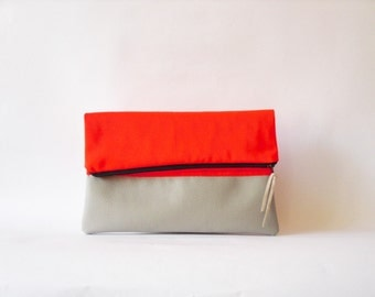 SALE Neon Clutch , Foldover  Vegan leather, Neon Orange Color Block