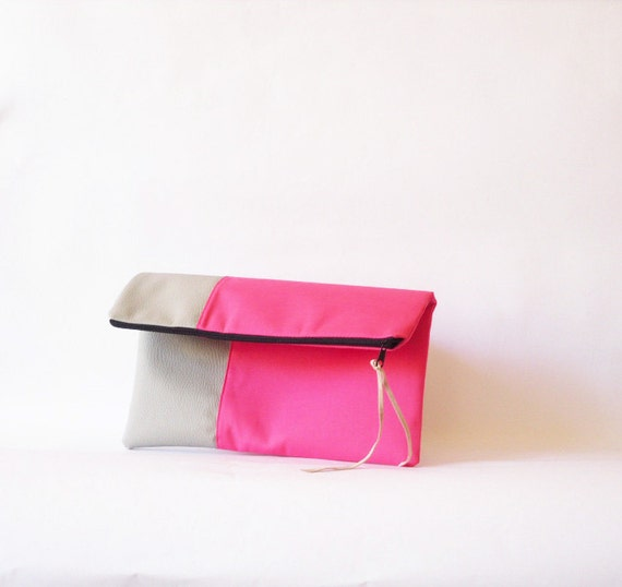 Clutch purse, Fold over.Faux leather , Hot pink , Color Block