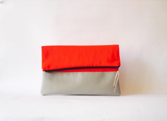 SALE Neon Clutch , Foldover  Vegan leather, Neon Orange Color Block