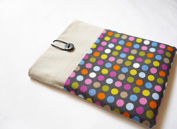 iPad case, iPad sleeve, iPad cover, Tablet sleeve. Padded Grey and Polka dot