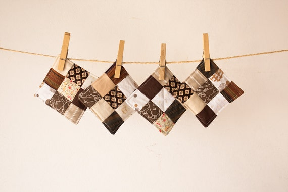 patchwork coasters set of 4 in brown