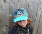 Blue trucker with gold flower of life background-double terminated crystal