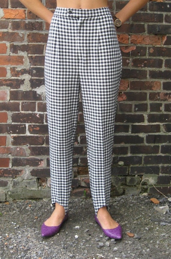 Stirrup Pants: Vtg 80s Black and White Checked High waisted Stirrup pants