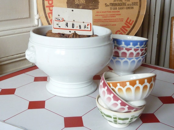 3 Small vintage Digoin french bowls Cafe au Lait  shabby chic