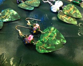 pearloid guitar pick earrings in green