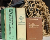 Organic Gardening Set of 3 Vintage Books in Green Shades Organic Gardening, Composting & Knapsackers are the topics