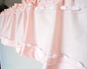 "SALE Pale Pink ""Peter Cotton Tail"" Window Valance with Pom Poms and Tulle Nursery Shabby Chic Cottage Chic Style"