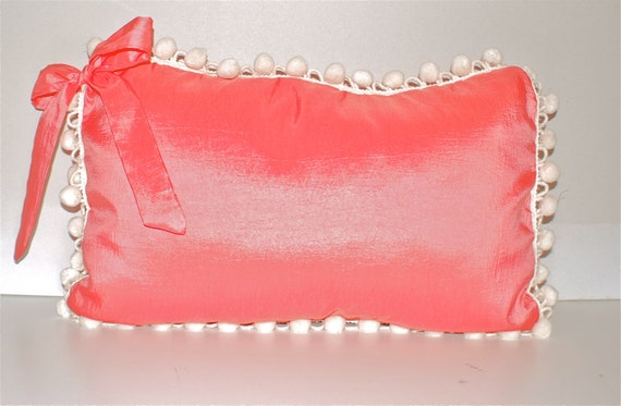 Pink Coral Cottage Chic Throw Pillow Crinkled Silk with Ivory Pom Pom Fringe 12 inches x18 inches