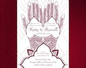 "Printable Mehndi Hand Wedding Invitation 5""x7""/A5"