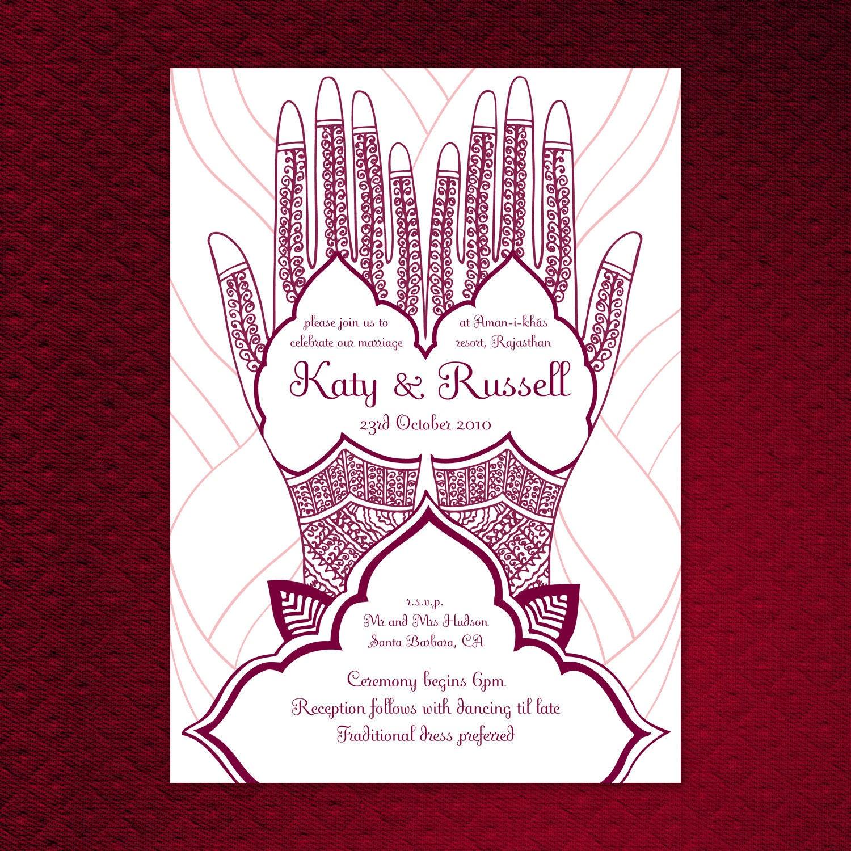 Mehndi Party Card Wording : Items similar to printable mehndi hand wedding invitation