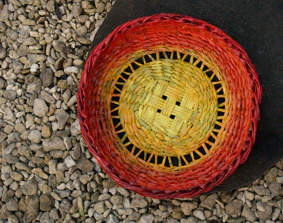 Large yellow red upcycled tray/bowl handmade from newspapers / paper wicker