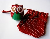 Berry - Cute Little Owl Doll with Bag: plush, owl decor, doll, kid doll, children doll, owl decoration, kawaii, red, green, discount, SALE