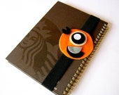 Cute Happy Bright Orange Bird Book Strap, owl, journal strap, notebook strap, journal band, diary band, boy, girl, kid, black, felt, spring