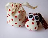 Dotty - the Little Cute Owl Doll with Bag: plush, keychain, children, kid, baby, boy, girl, kid, red, cream, poka dot, dot, eco