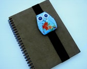 Blue Flower Owl Book Strap, owl, journal strap, notebook strap, journal band, diary band, boy, girl, kid, black, felt, spring, bird
